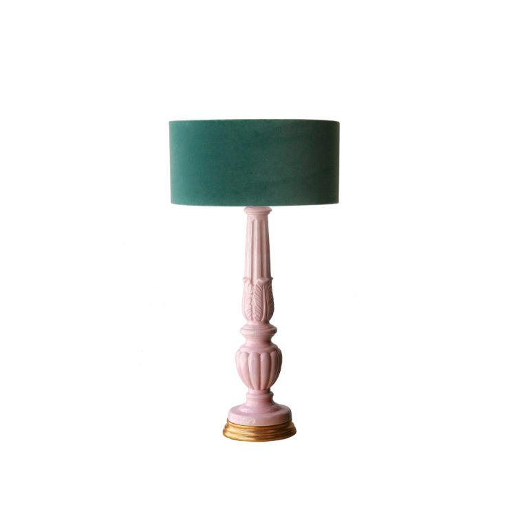 pareja de lámparas de manises rosas7